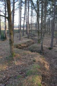 Om de noordoostelijke zijde van de 'Munitions Ausgabe Stelle' (MASt) te kunnen verdedigen, hebben de Duitsers een loopgraaf aangelegd, die in het landschap nog steeds duidelijk waarneembaar is. Foto: Paul Faes.